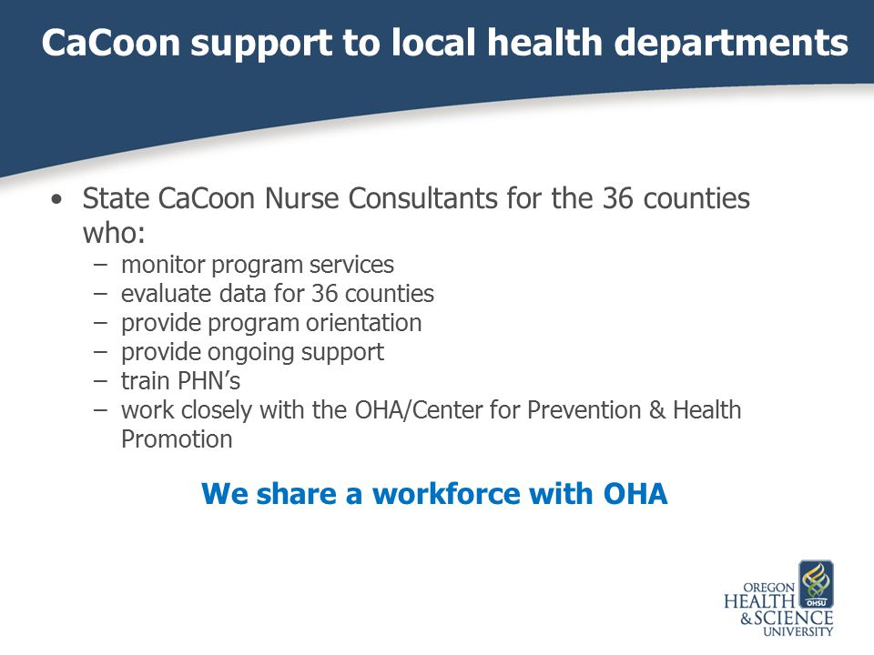 CaCoon support to local health departments