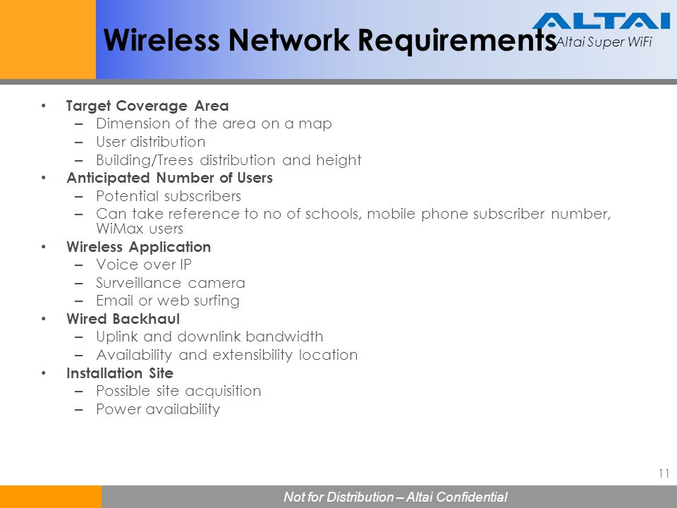 Wireless Network Requirements