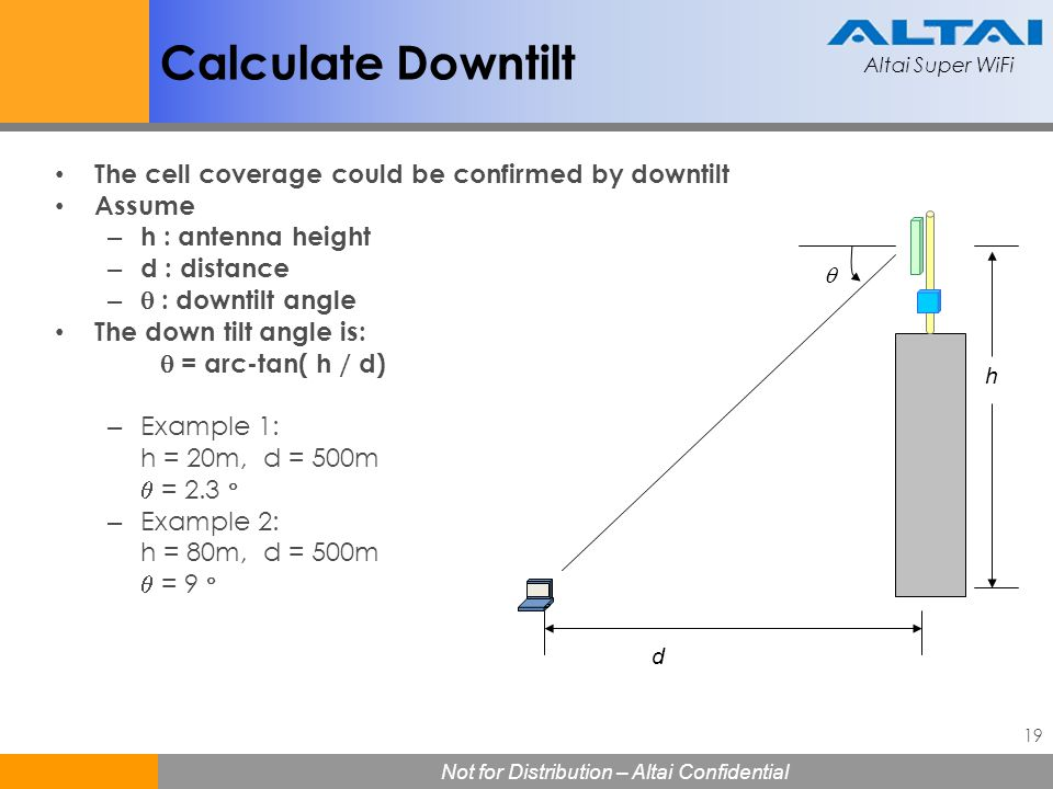 Calculate Downtilt The cell coverage could be confirmed by downtilt