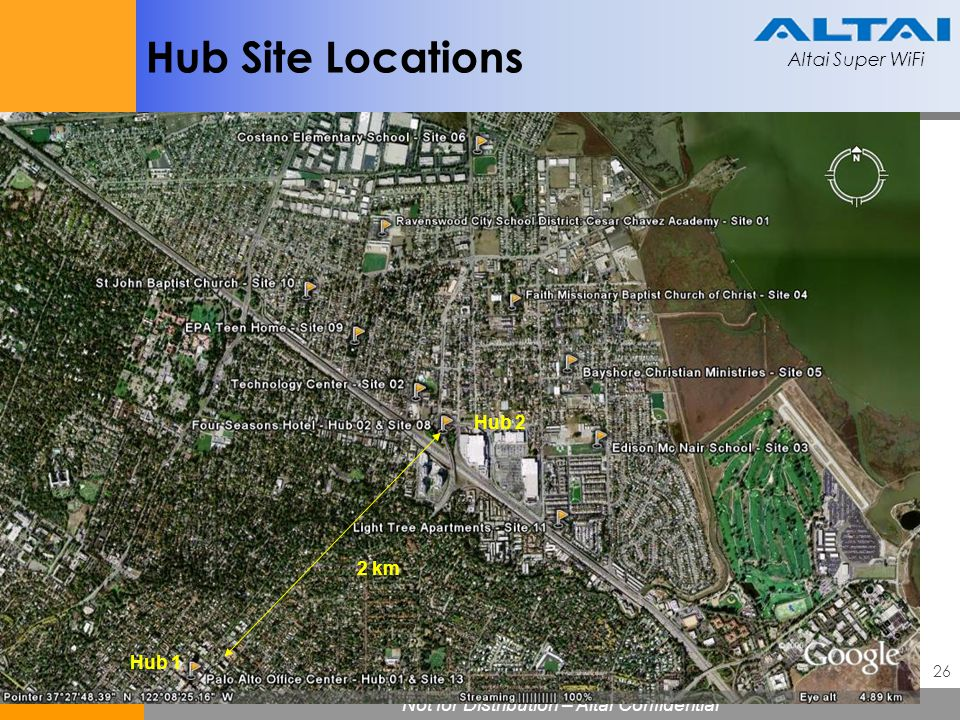 Hub Site Locations Hub 2 2 km Hub 1