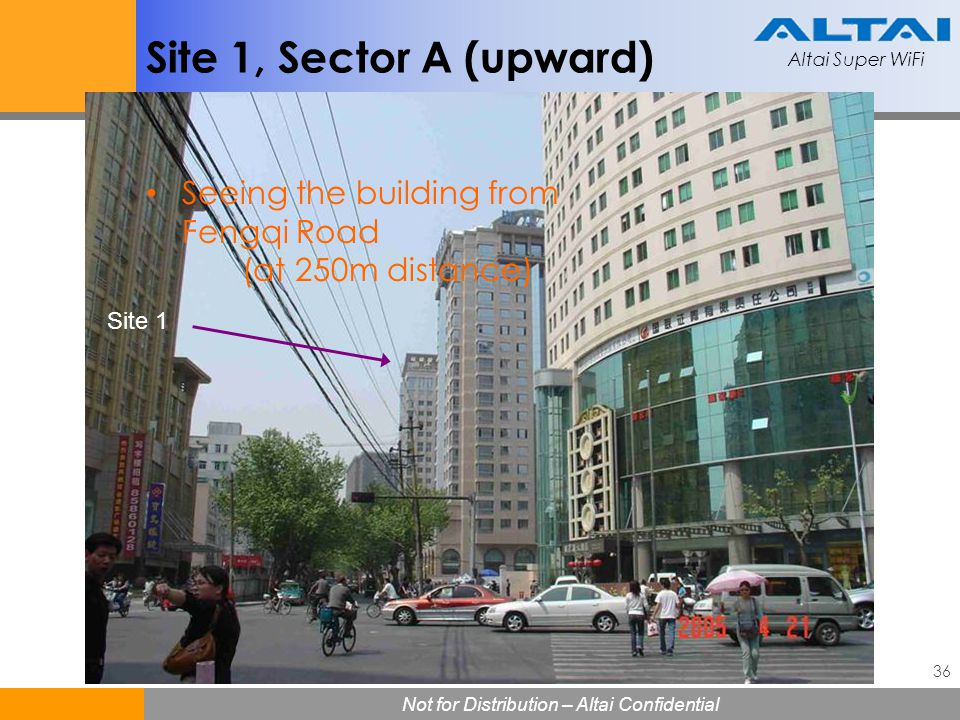 Site 1, Sector A (upward) Seeing the building from Fengqi Road (at 250m distance) Site 1