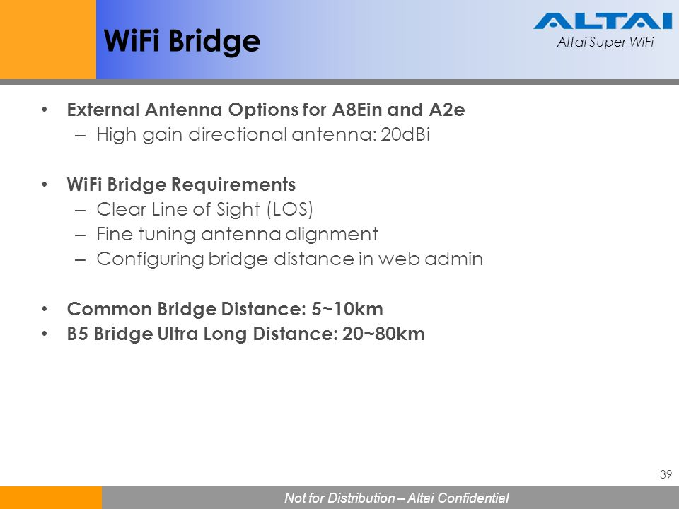 WiFi Bridge External Antenna Options for A8Ein and A2e