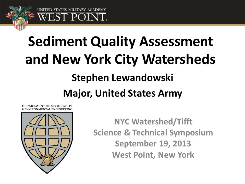 Sediment Quality Assessment and New York City Watersheds