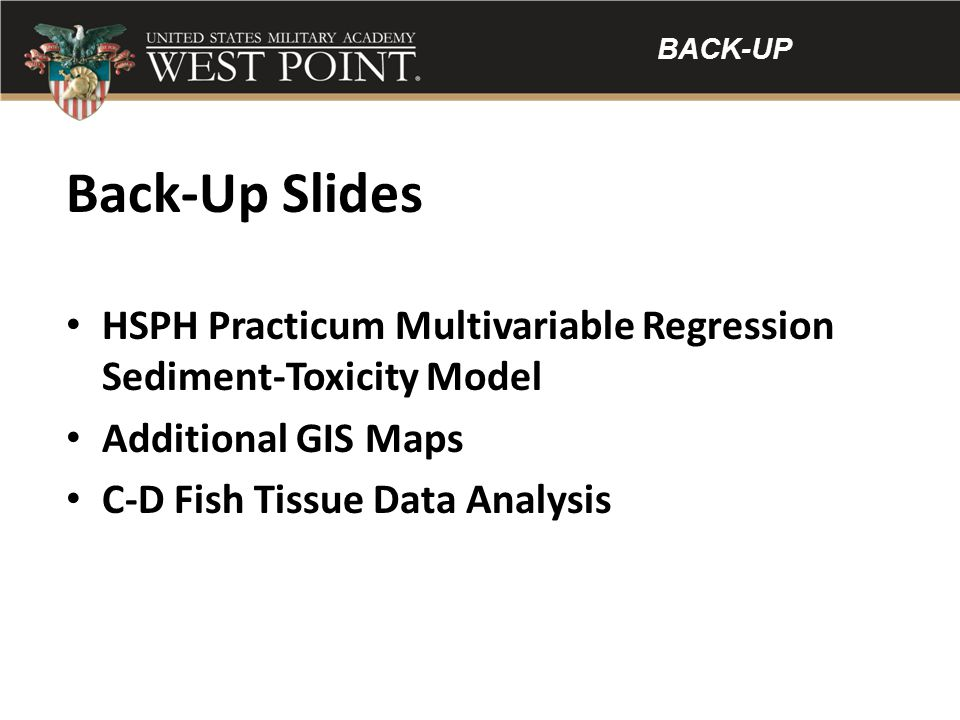 BACK-UP Back-Up Slides. HSPH Practicum Multivariable Regression Sediment-Toxicity Model. Additional GIS Maps.