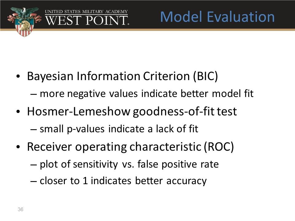 Model Evaluation Bayesian Information Criterion (BIC)