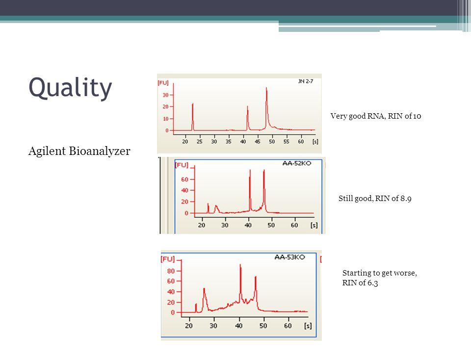Quality Agilent Bioanalyzer Very good RNA, RIN of 10
