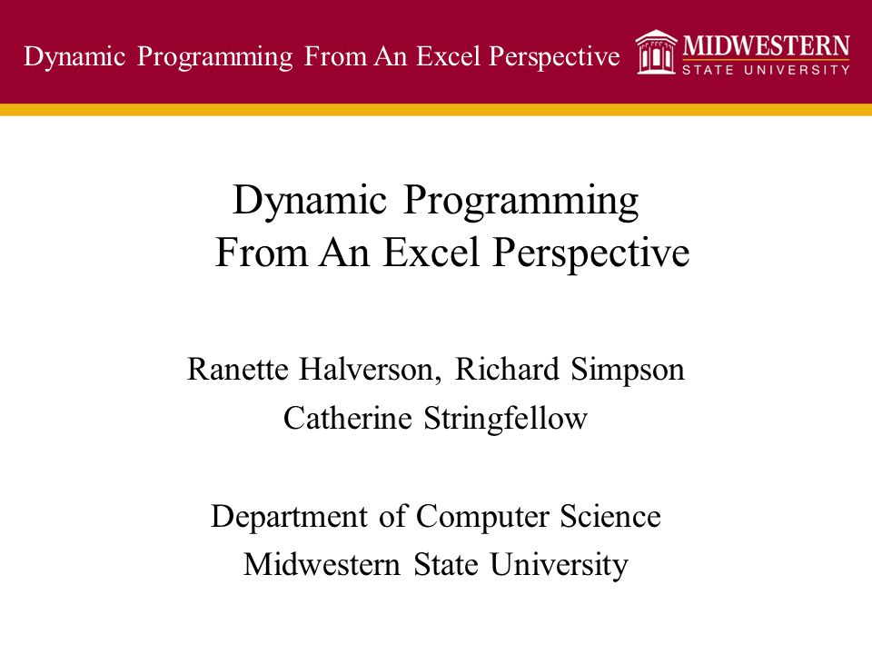 Dynamic Programming From An Excel Perspective