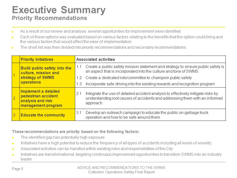 Executive Summary Priority Recommendations