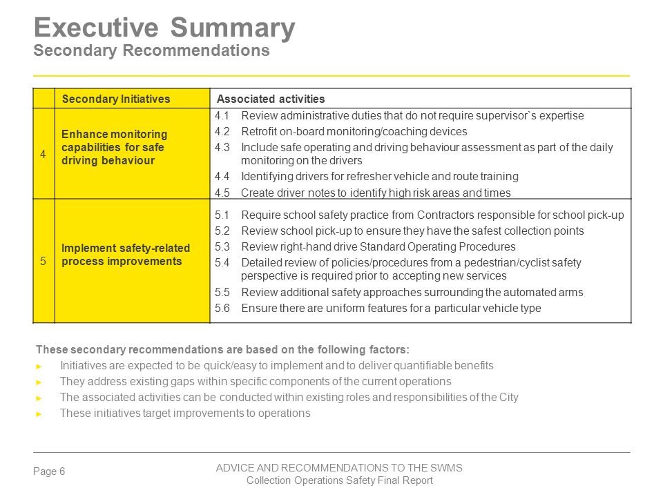 Executive Summary Secondary Recommendations