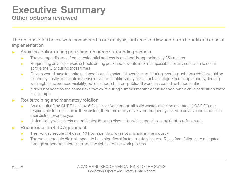 Executive Summary Other options reviewed