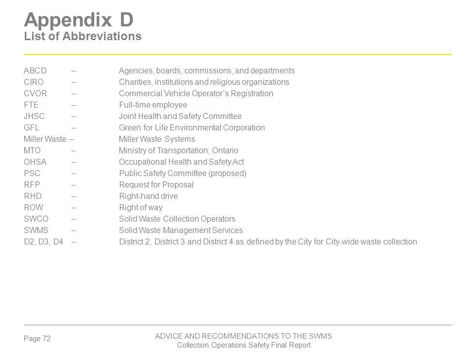 Appendix D List of Abbreviations