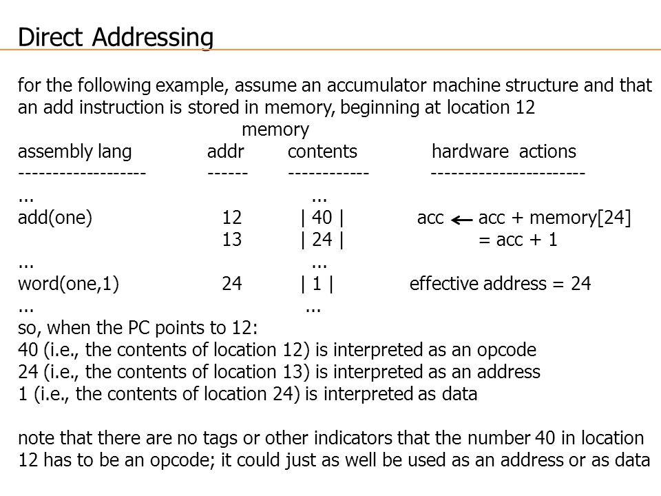 Direct Addressing for the following example, assume an accumulator machine structure and that an add instruction is stored in memory, beginning at location 12 memory assembly lang addr contents hardware actions