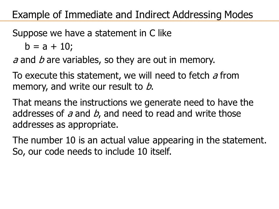 Example of Immediate and Indirect Addressing Modes