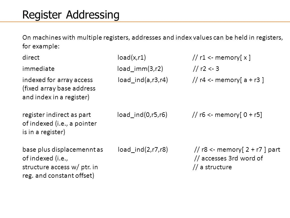 Register Addressing On machines with multiple registers, addresses and index values can be held in registers, for example: