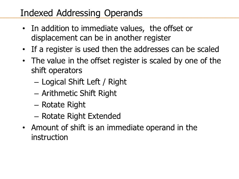 Indexed Addressing Operands