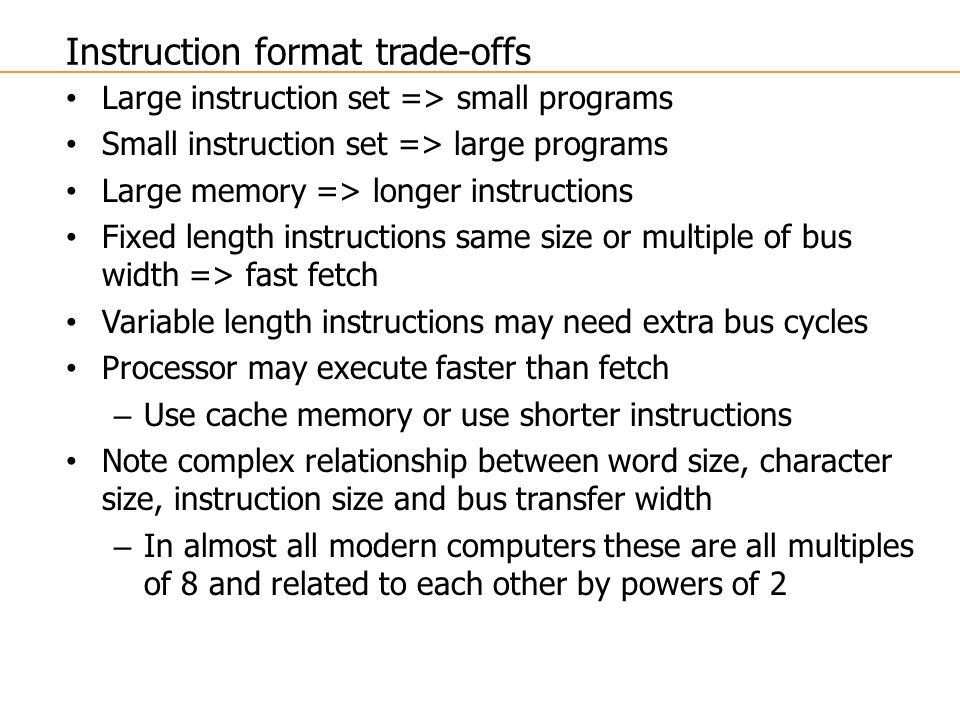 Instruction format trade-offs