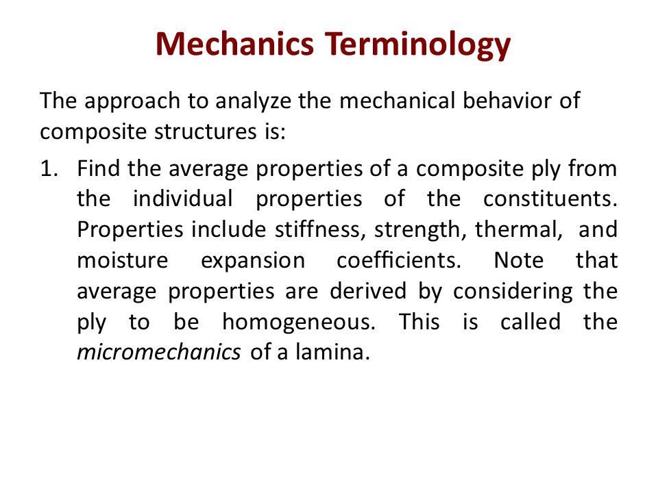Mechanics Terminology