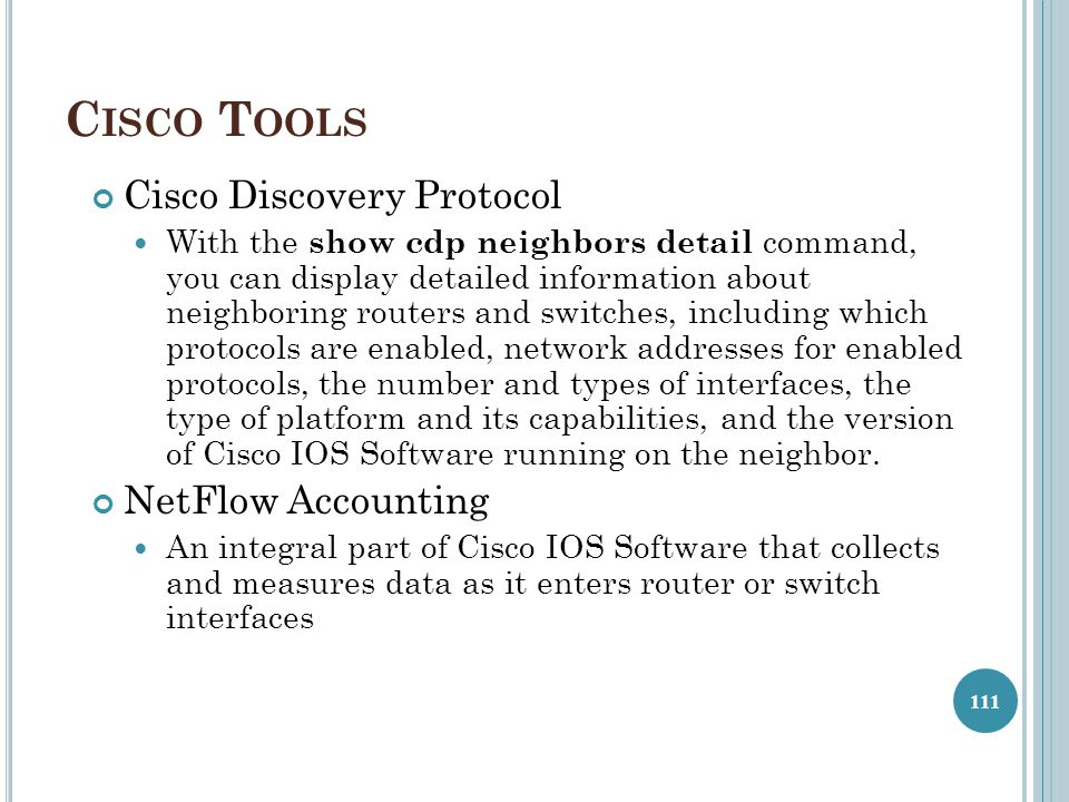 Cisco Tools Cisco Discovery Protocol NetFlow Accounting