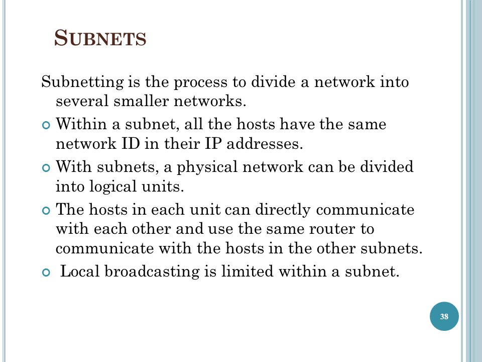 Subnets Subnetting is the process to divide a network into several smaller networks.