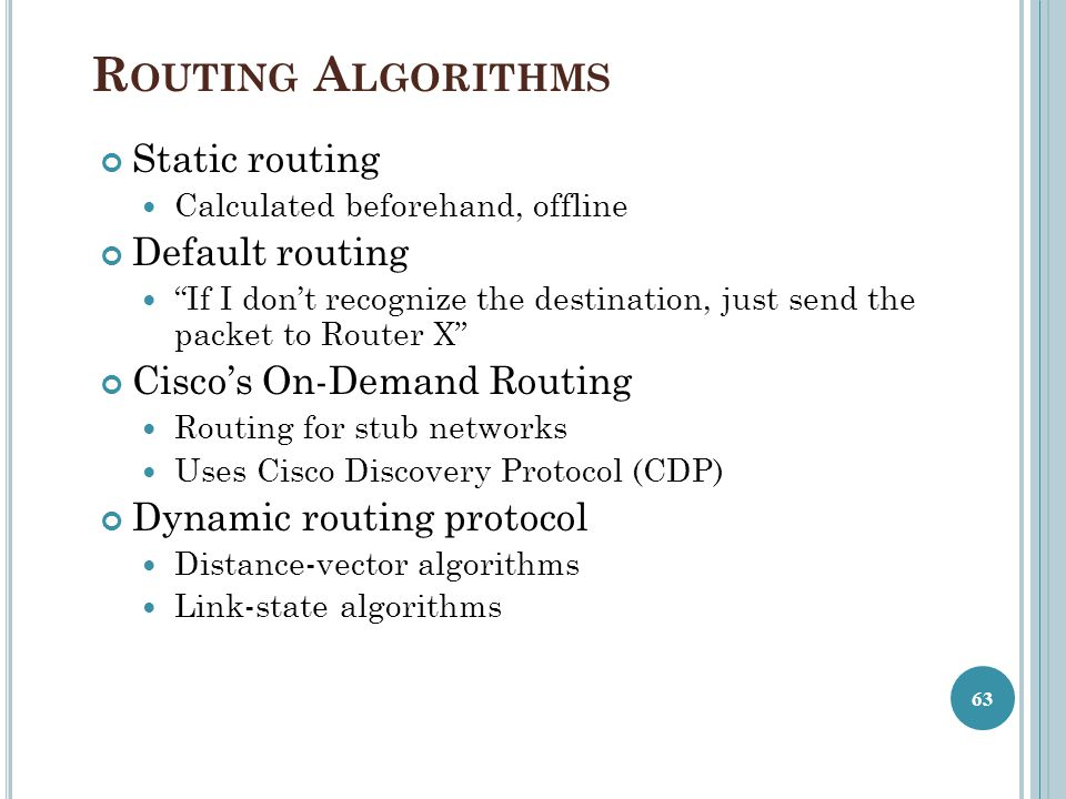 Routing Algorithms Static routing Default routing