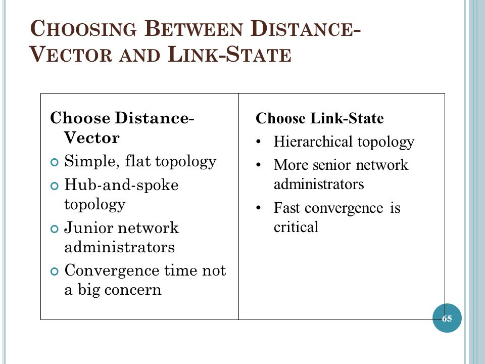 Choosing Between Distance-Vector and Link-State