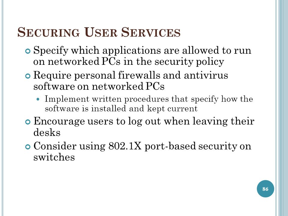 Securing User Services