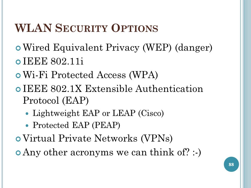 WLAN Security Options Wired Equivalent Privacy (WEP) (danger)