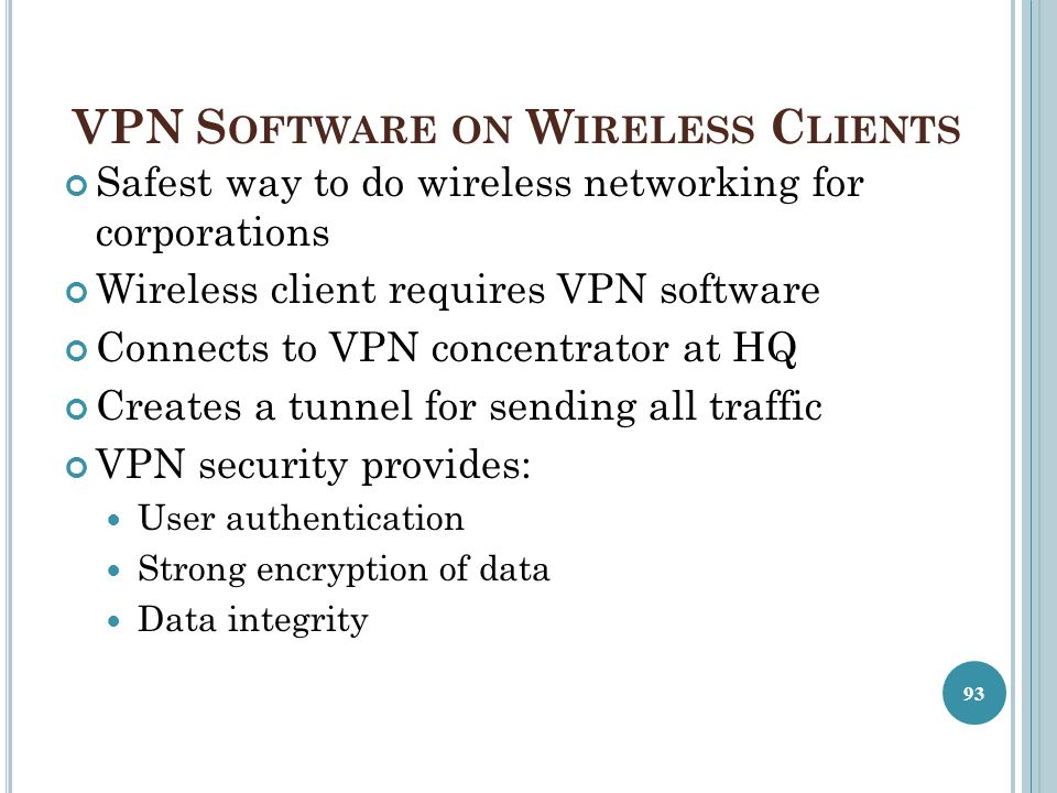 VPN Software on Wireless Clients