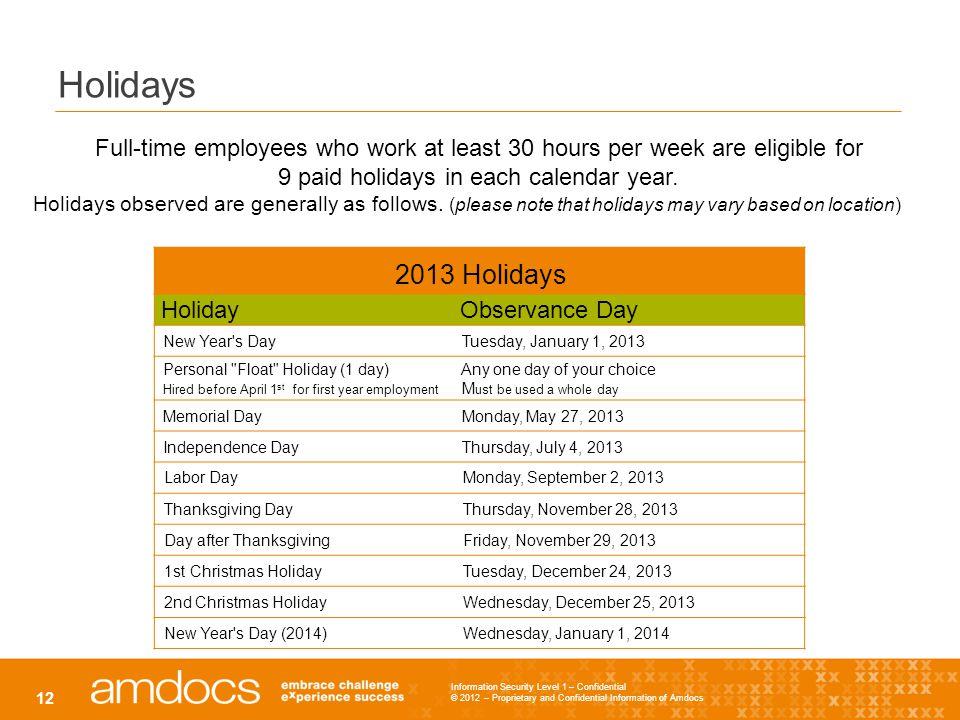 9 paid holidays in each calendar year.
