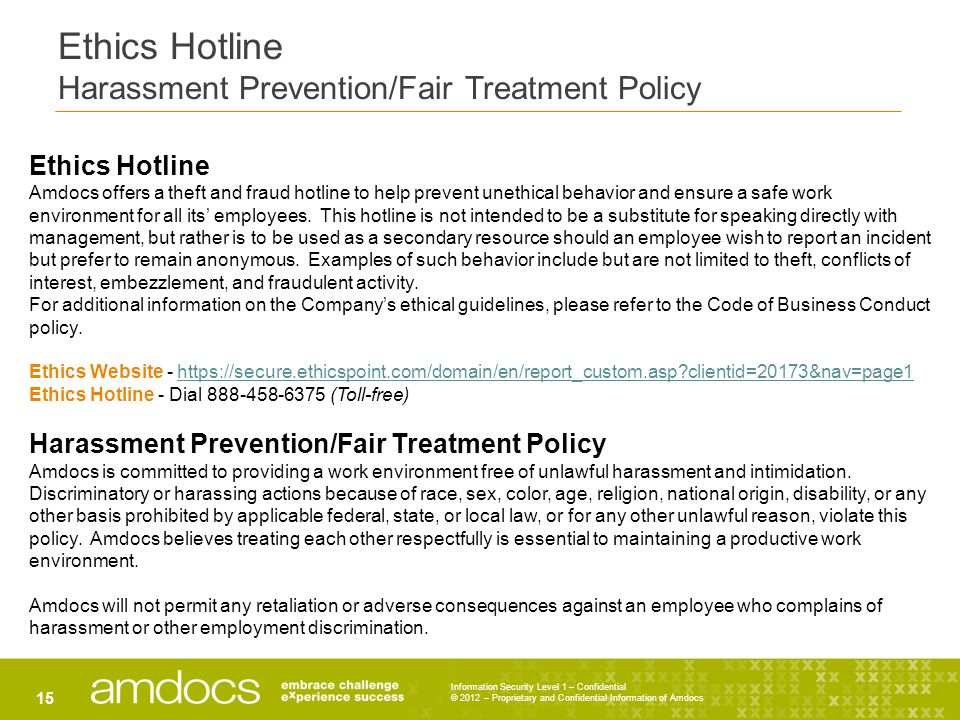 Ethics Hotline Harassment Prevention/Fair Treatment Policy