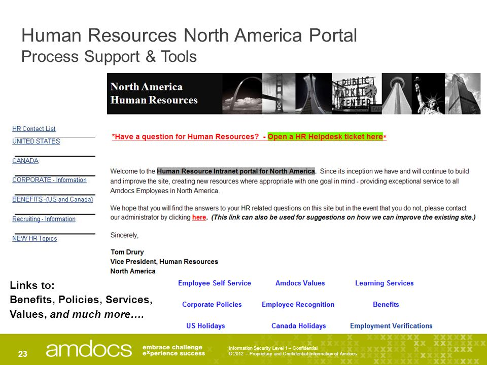 Human Resources North America Portal Process Support & Tools