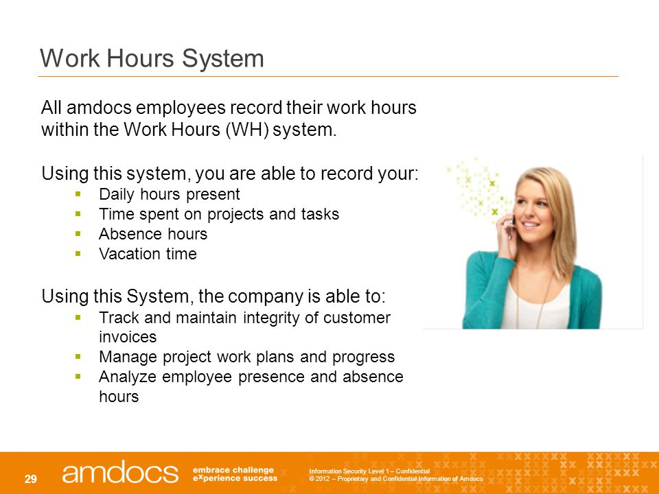 Work Hours System All amdocs employees record their work hours