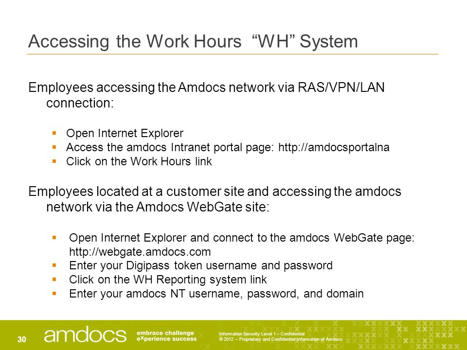 Accessing the Work Hours WH System