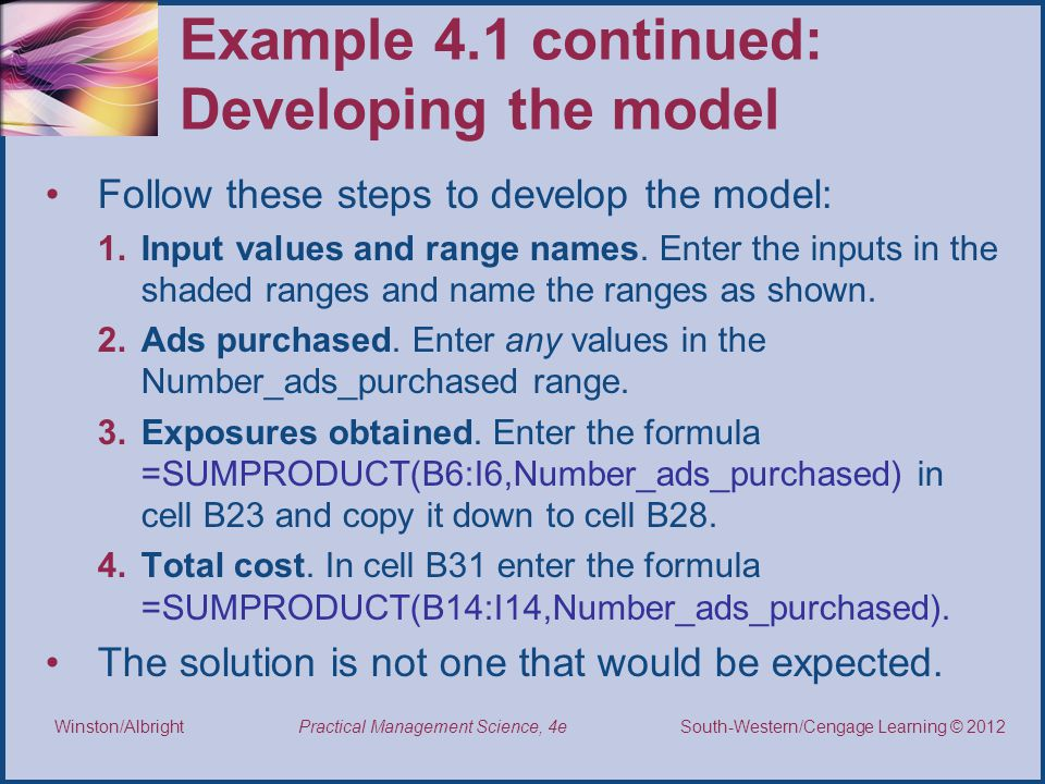 Example 4.1 continued: Developing the model