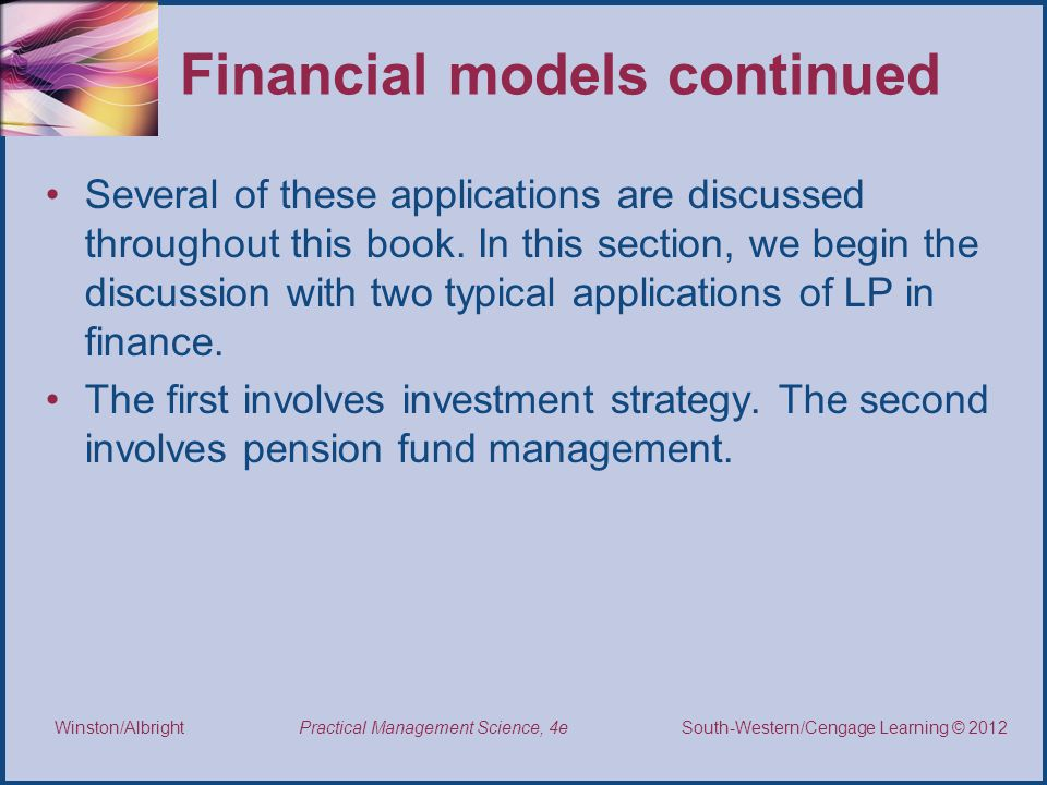 Financial models continued