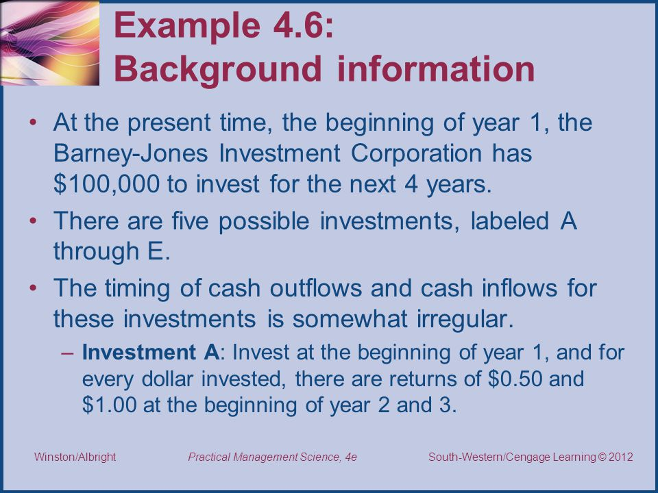 Example 4.6: Background information