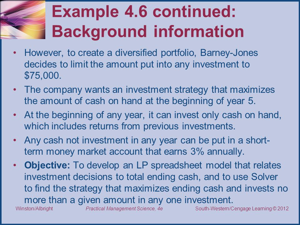 Example 4.6 continued: Background information
