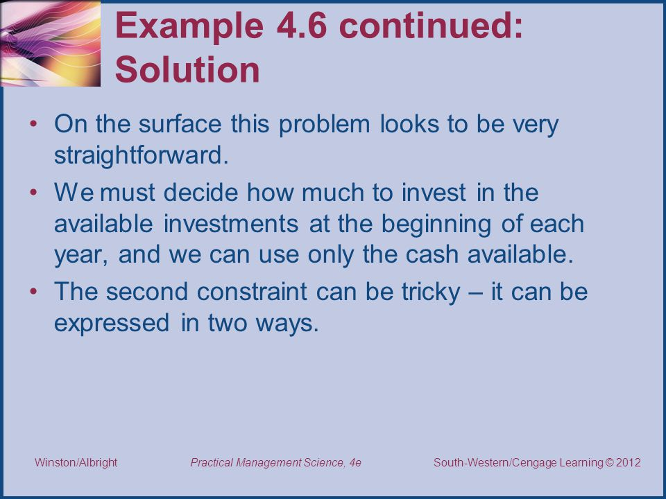 Example 4.6 continued: Solution