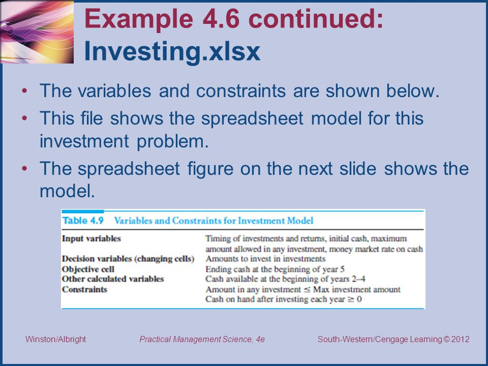 Example 4.6 continued: Investing.xlsx