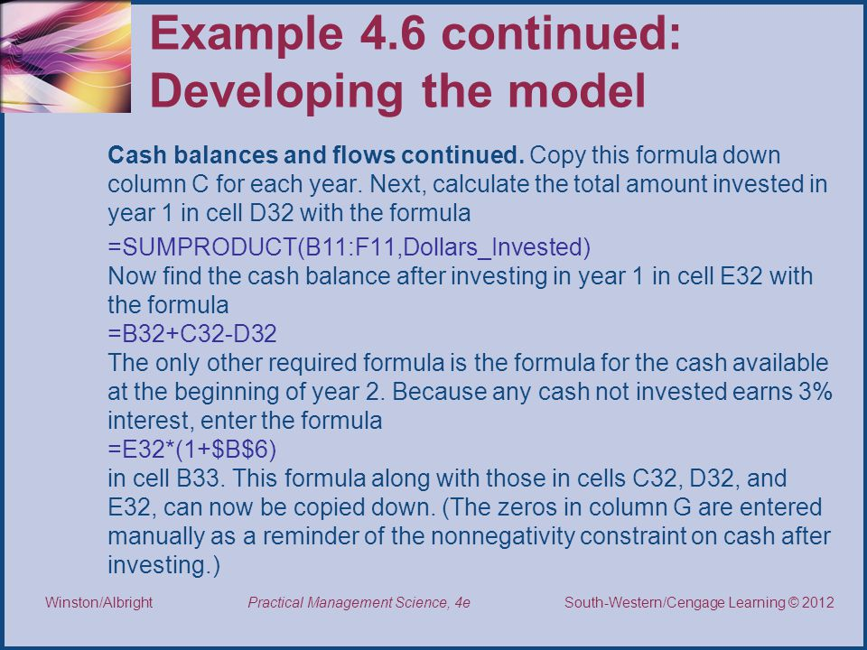 Example 4.6 continued: Developing the model