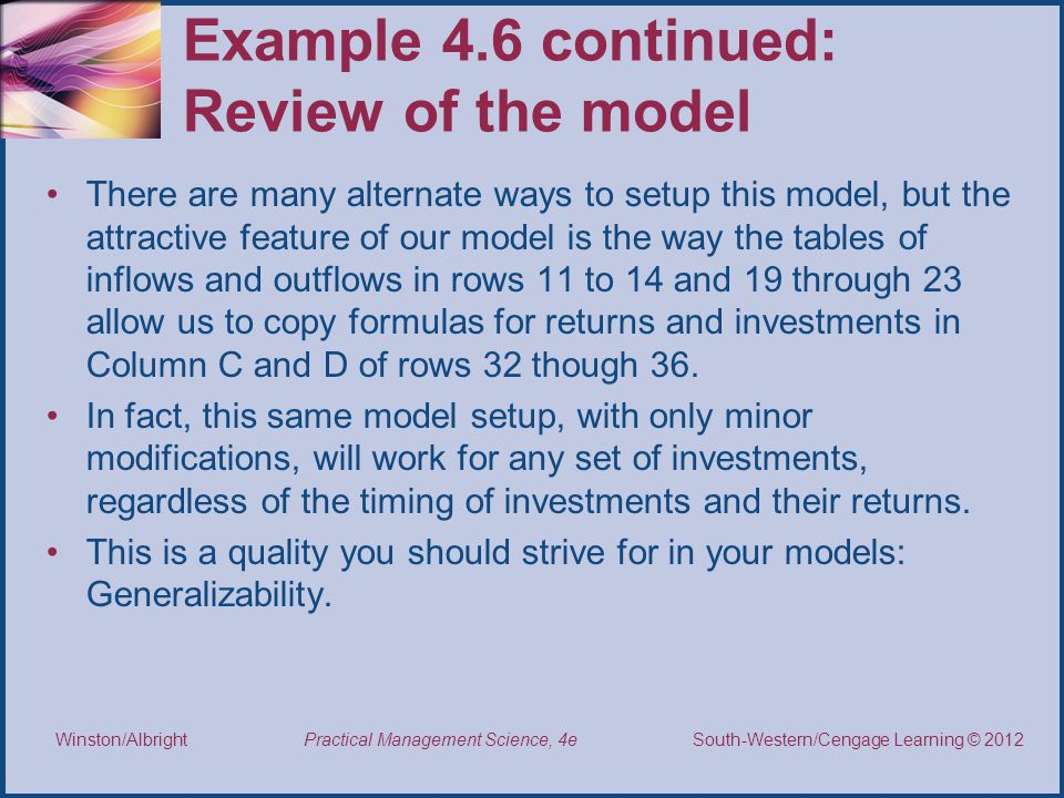Example 4.6 continued: Review of the model