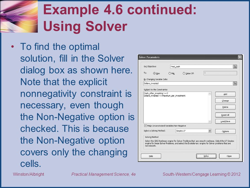 Example 4.6 continued: Using Solver