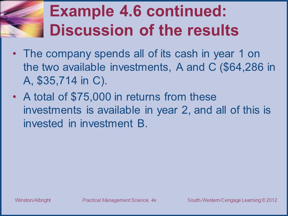 Example 4.6 continued: Discussion of the results