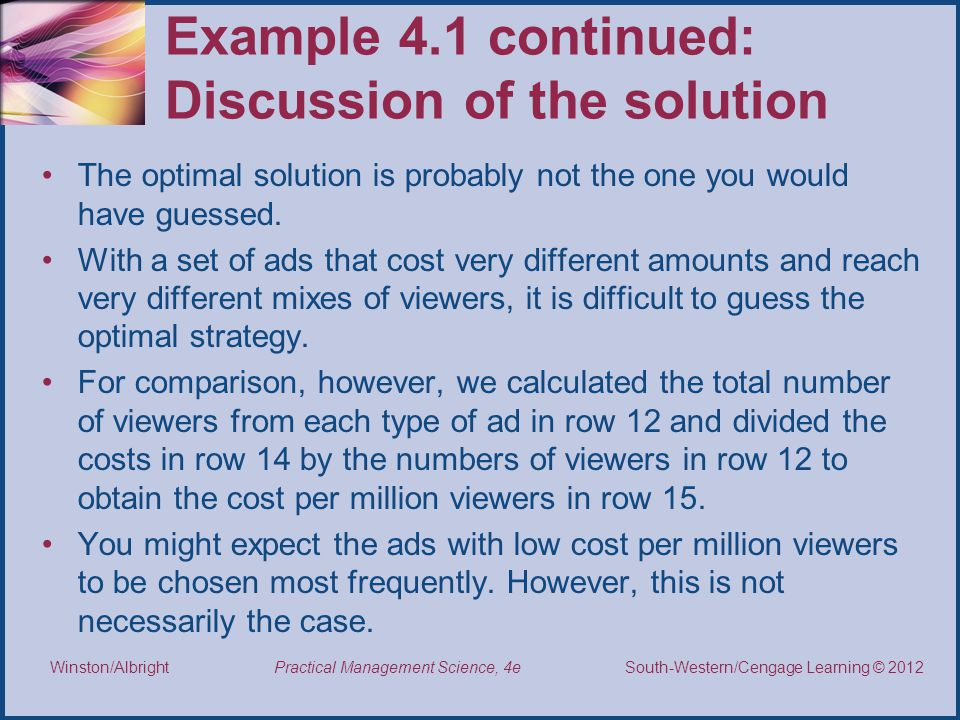 Example 4.1 continued: Discussion of the solution
