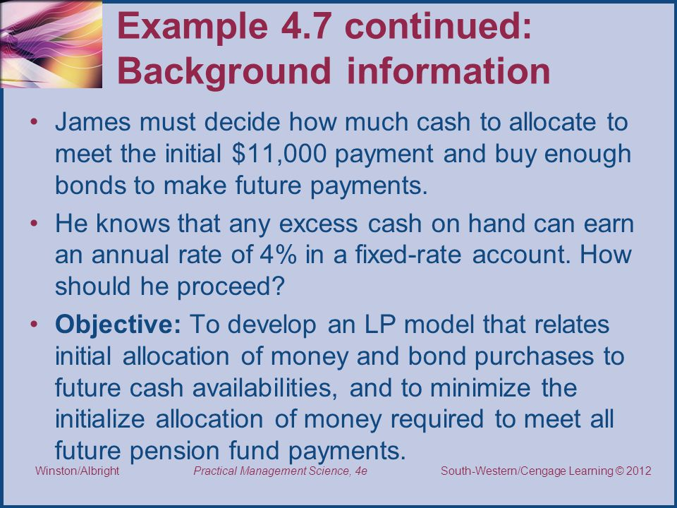 Example 4.7 continued: Background information