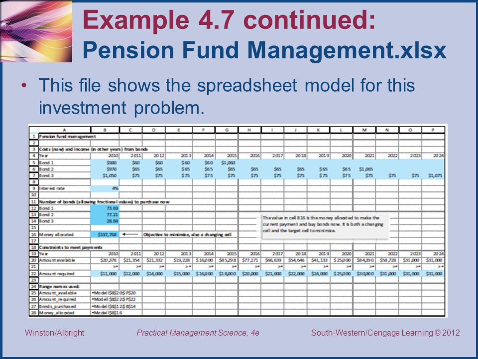 Example 4.7 continued: Pension Fund Management.xlsx