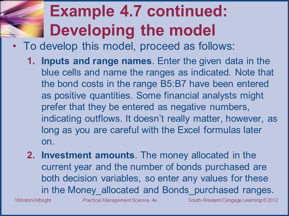 Example 4.7 continued: Developing the model