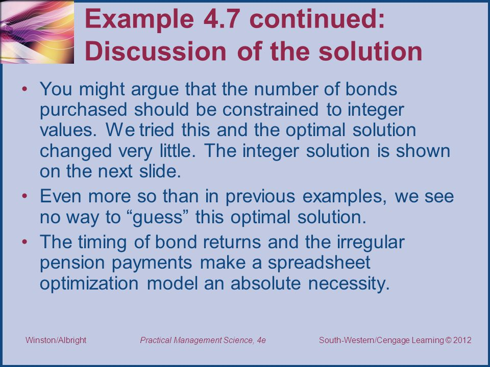 Example 4.7 continued: Discussion of the solution
