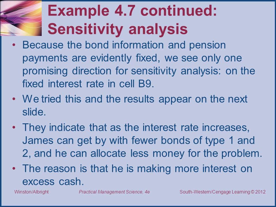 Example 4.7 continued: Sensitivity analysis