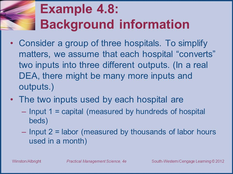 Example 4.8: Background information